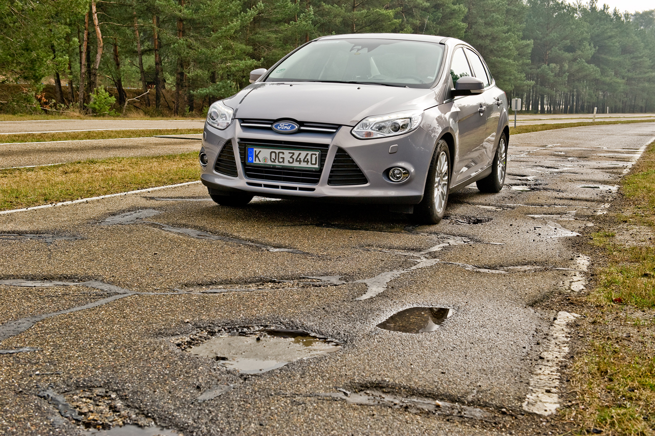 Ford Pothole testing in Belgium