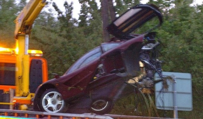 Oops! Rowan Atkinson Crashes McLaren F1 In Peterborough