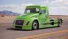 Volvo hybrid truck, mean green