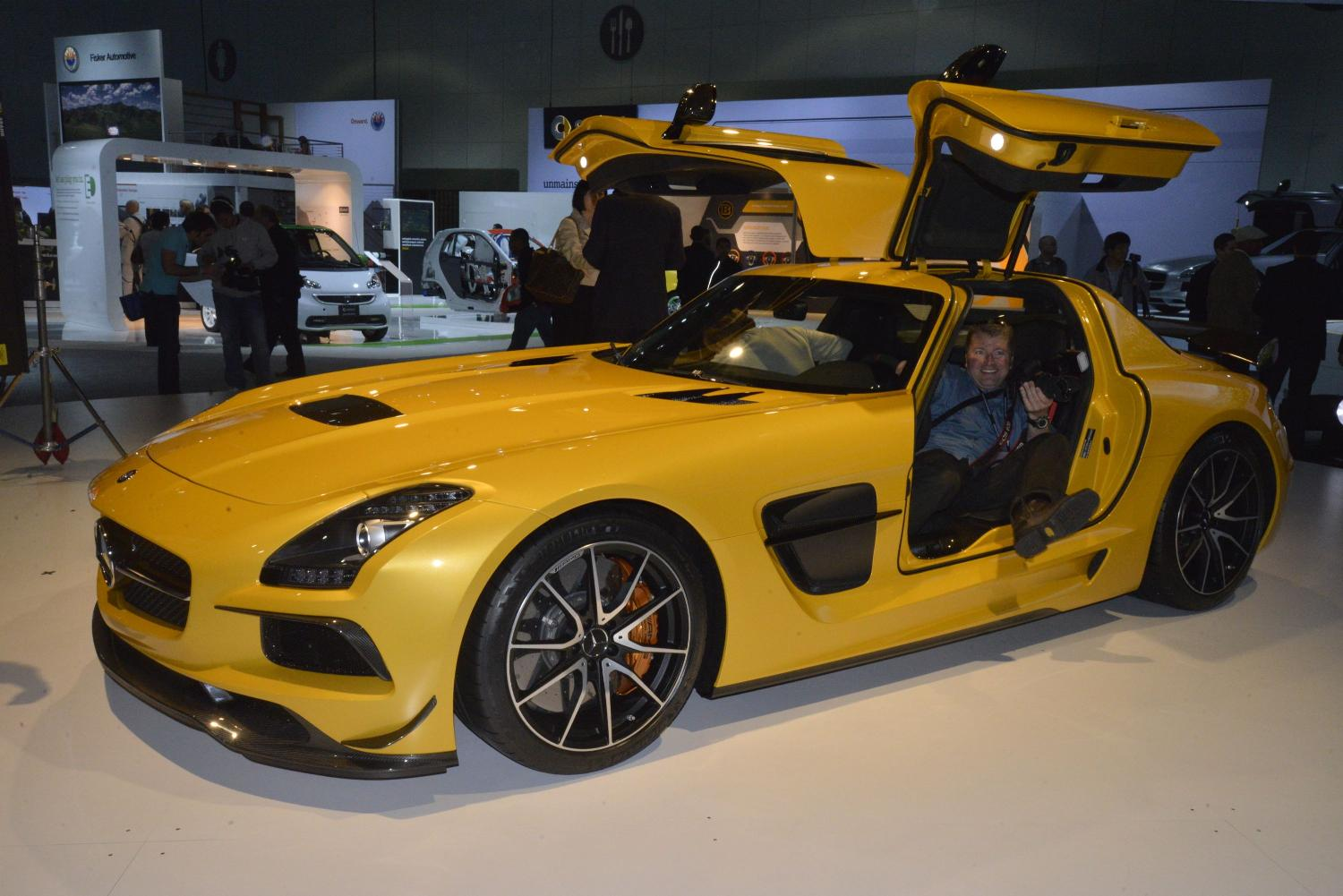 mercedes benz sls amg black series gullwing doors open. Black Bedroom Furniture Sets. Home Design Ideas