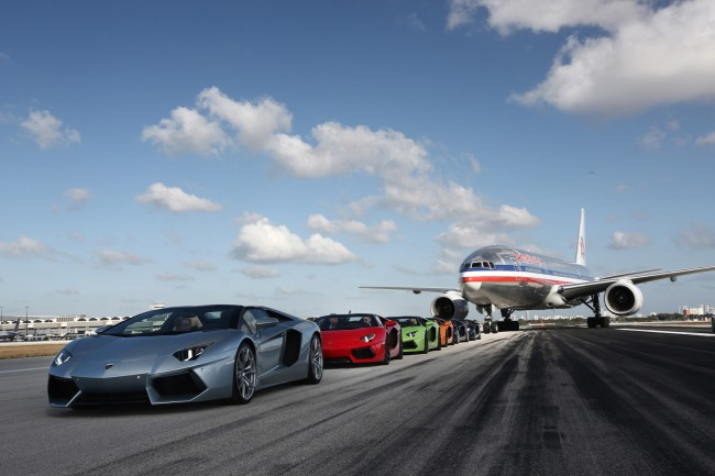Lamborghini Aventador Roadster at Miami airport runway