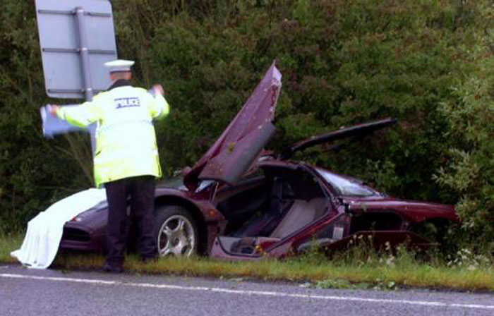 McLaren F1 crashed by Rowan Atkinson (Picture: SWNS)