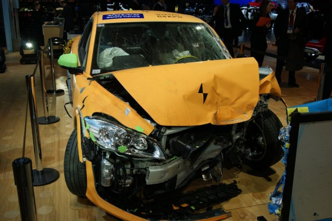 Crashed Volvo C30 Electric on Display in Detroit (Video)