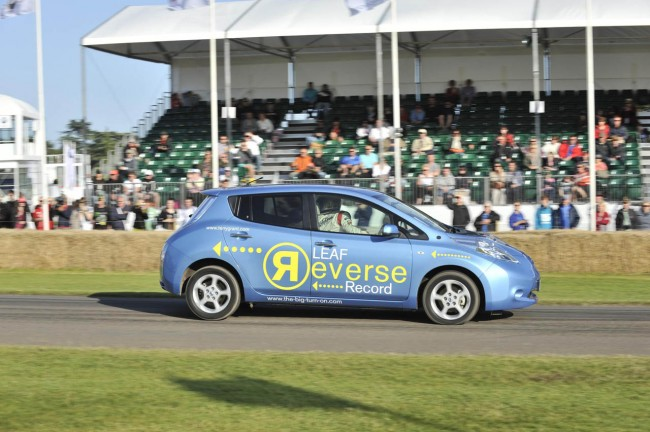 Nissan Leaf Sets New Record As The Fastest Car Over A Mile In Reverse [VIDEO]
