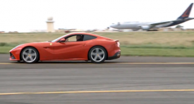 Ferrari F12 Berlinetta races an Airbus A320 for charity [video]