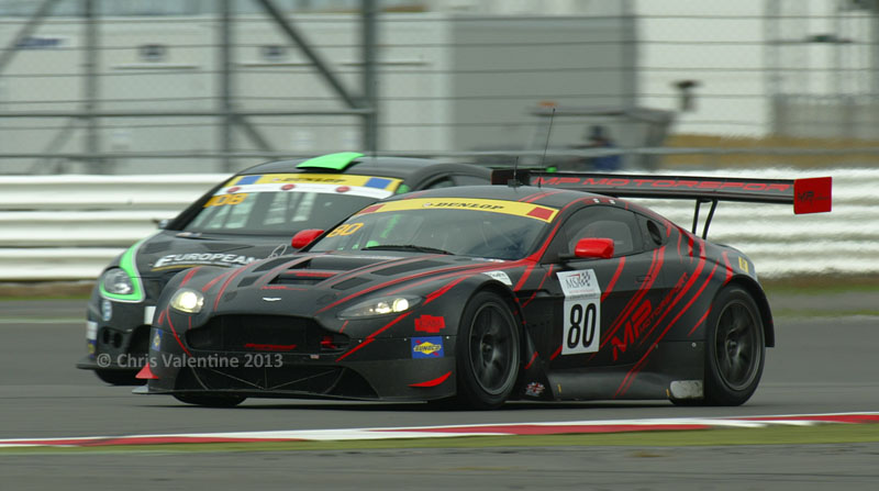 The Barwell Motorsport Aston Martin Vantage GT2 leads at the 1 hour mark
