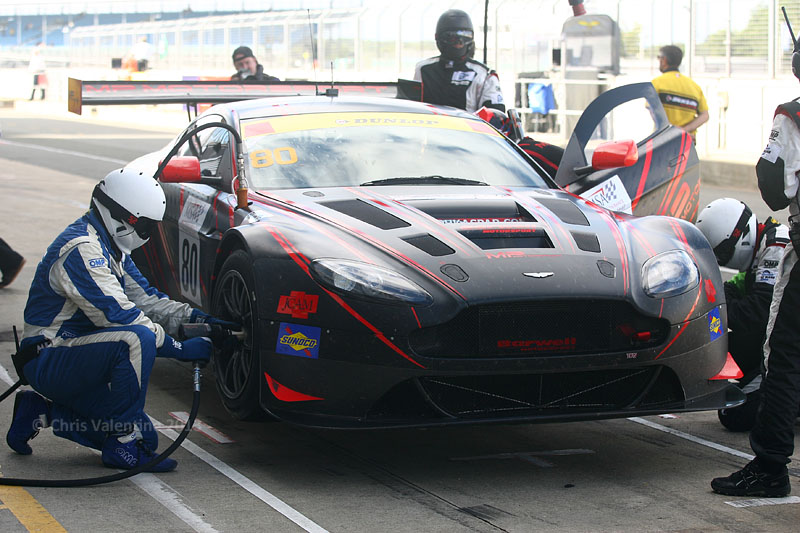 The Barwell Motorsport Aston in for tyres and fuel