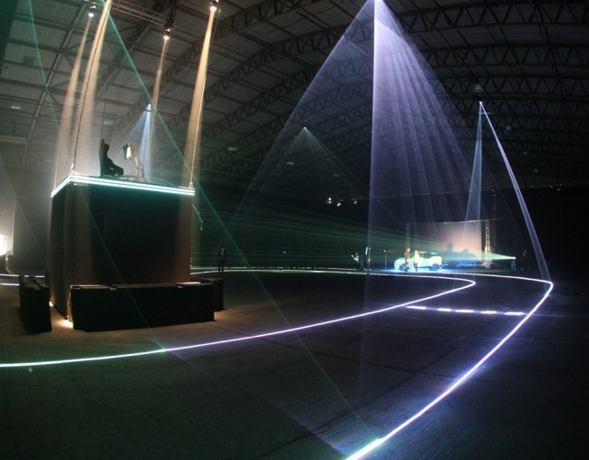 The Tron-inspired setup at Black Hangar Studio in Hampshire