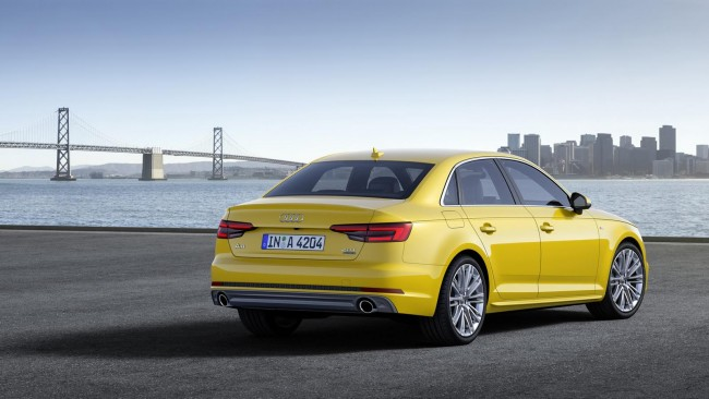 2016 Audi A4 saloon yellow rear